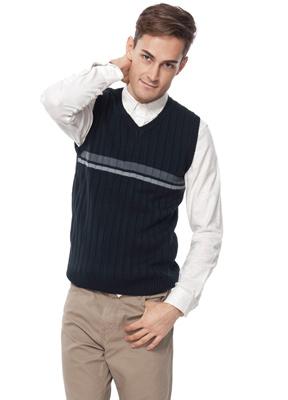 素色配條V領毛衣背心