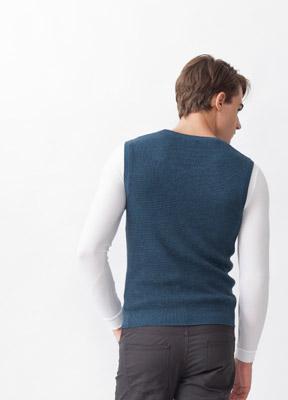 素色混紡羊毛V領背心