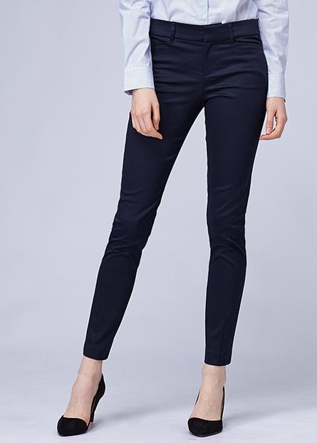 素色修身直筒西裝長褲