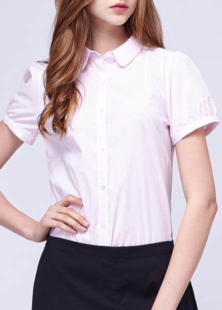 小圓領上班族短袖襯衫