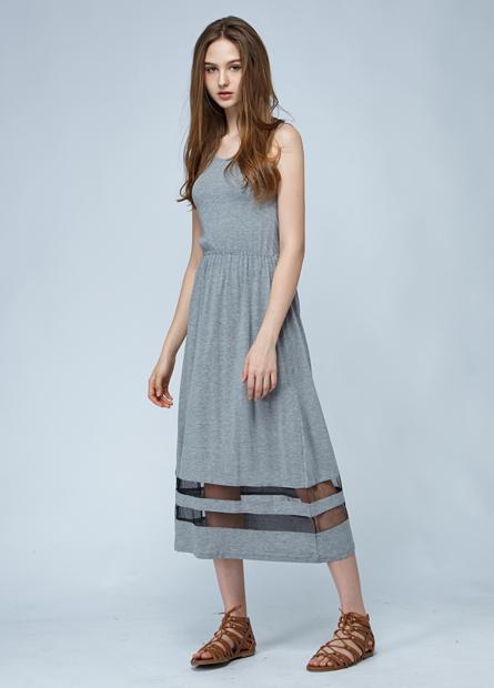 素色下襬網紗長洋裝