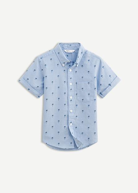 男童鈕釦領貼袋襯衫