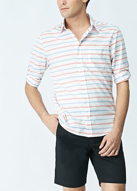 素色薄棉百慕達短褲