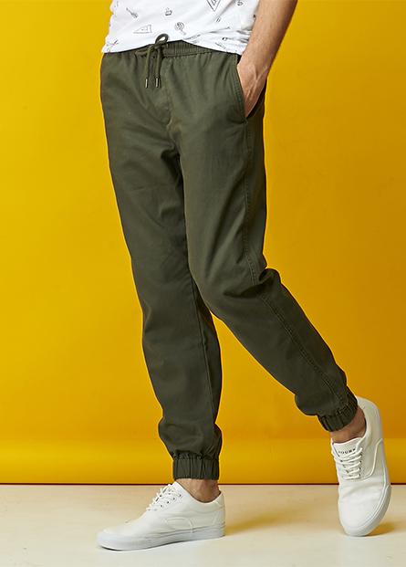 素色抽繩慢跑長褲