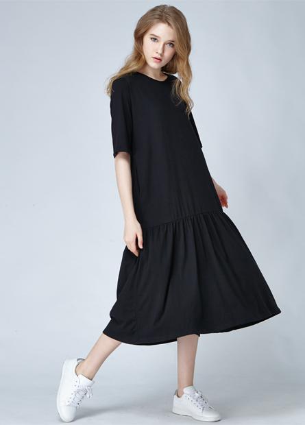 素色荷葉下襬長洋裝