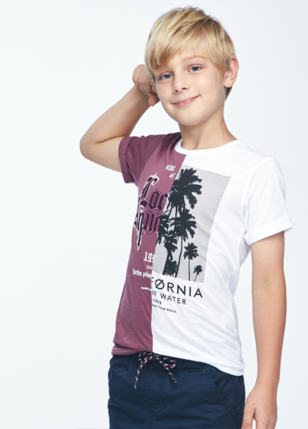 男童雙色椰子樹文字T