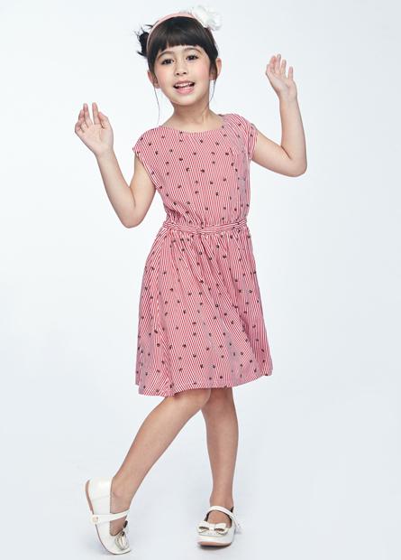 女童小傘條紋口袋洋裝