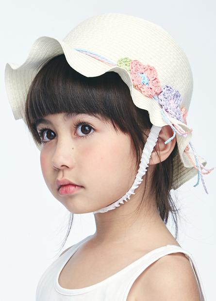 女童花朵裝飾草帽