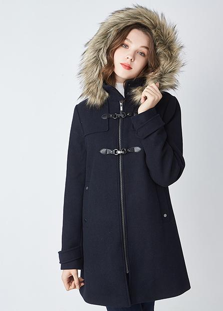 羊毛皮釦連帽毛外套